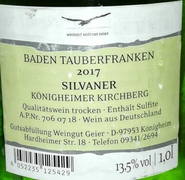 2017 Königheimer Kirchberg Silvaner Qualitätswein trocken (6 x 1,0l)