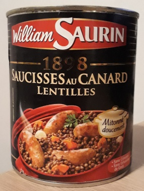 Saucisses au canard lentilles - William Saurin - 840 g