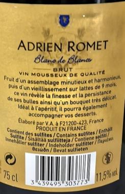 Adrien Romet Blanc de Blancs BRUT Traditionelle Methode 6x0,75l