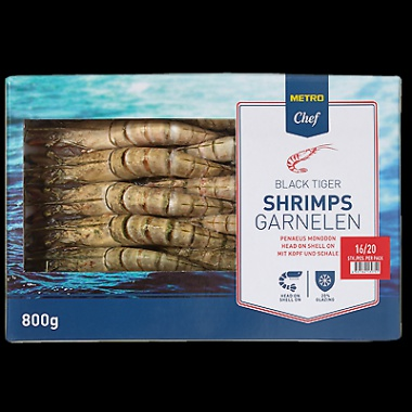 Gambas / Riesengarnelen / Black Tiger Shrimps (roh), m. Kopf, m. Schale, Tiefkühl (16-20 Stück)1,0kg