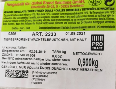 Wachtelbrüstchen tiefgefroren, mit Haut, Italien, vak.-verpackt, 16 Stück 900 g Packung