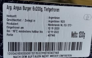 Premium Angus Beef Burger tiegefroren, 6 Stück à 200 g - 1,2 kg Packung