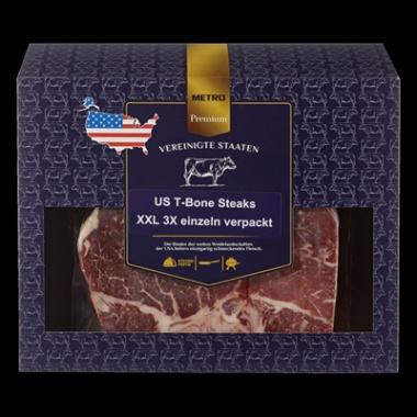 Premium US T-Bone Steaks XXL, tiefgefroren, 3 Stück, vak.-verpackt - je kg