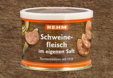 Hausmacher Schweinfleisch im eigenen Saft 200gr Ringpull-Dose mit wiederverschließbaren Plastikdeckel