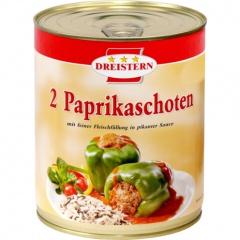 Dreistern 2 Paprikaschoten mit feiner Fleischfüllung in pikanter Sauce 800gr Ringpull-Dose