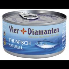 Vier Diamanten Thunfischfilets Naturell 195 g Dose (ANGELFISCH)