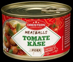 6 Fleischbällchen (aus Schweinefleisch) in Tomaten-Käse-Sauce 1x400gr Ringpulldosen